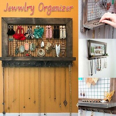 Rustic Brown Jewelry Organizer Wooden Wall Mounted Holder For Earrings Necklace • 7.48£