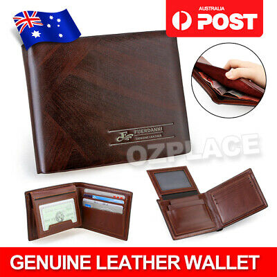 AU8.95 • Buy Premium Genuine Leather Mens Purse Bifold Brown Business Credit Card Wallet OZ