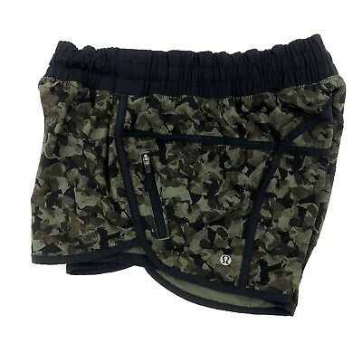 $21.50 • Buy Lululemon Black Green Camo Hot Speed Run Shorts Size 6 Running Jogging Shorts