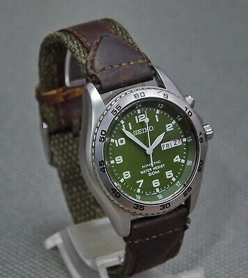 $ CDN138.22 • Buy SEIKO Kinetic Military Style Day/Date 5M62-OA78 Stainless Steel Case WR 50m