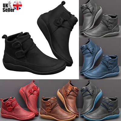 UK Womens Winter Arch Support Ankle Boots Ladies Lace Up Casual Flat Shoes Size • 16.49£