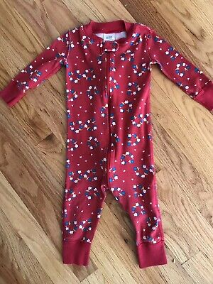 $6.99 • Buy Hanna Andersson 75 12-18 Months One Piece Sleeper Pajamas PJs Red Flowers
