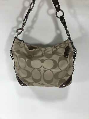 $ CDN74.70 • Buy COACH Tan/Brown Carly Handbag Purse F15250 Signature Fabric/Leather Mint