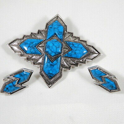 """$15.99 • Buy Vtg SARAH COVENTRY SET Pin Brooch Earrings '70s Faux Turquoise """"INCA"""" Silver Tn"""