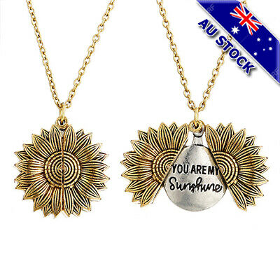 AU8.79 • Buy 18KGold Plated You Are My Sunshine Letter Sunflower Open Locket Pendant Necklace