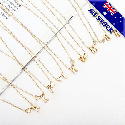AU6.69 • Buy Fashion 18K Gold Plated 26 Letter With Heart Pendant Necklace Jewelry