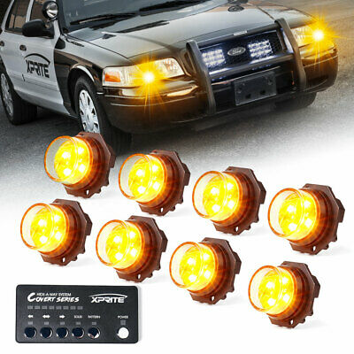 $116.99 • Buy Xprite 8pcs Yellow/Amber LED Strobe Lights Kit Hide-A-Way Car Emergency Warning