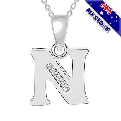 AU7.95 • Buy Fashion Silver Tone 26 Initial Letter With Clear CZ Crystal Pendant Necklace