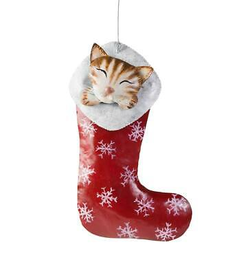 $13.88 • Buy Kitten In A Stocking Metal Ornament - Indoor Christmas Holiday Decor