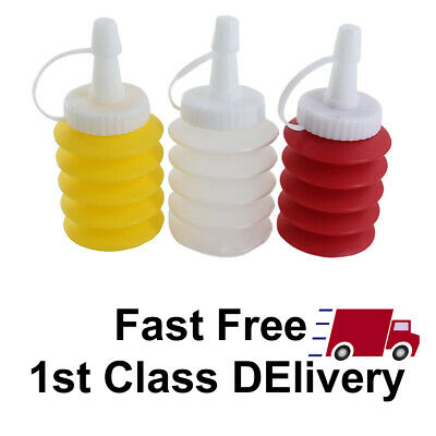 3pc Squeeze Sauce Bottles Ketchup / Mustard Dispensers Barbecue & Party Plastic • 6.98£