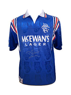 Brian Laudrup Signed Glasgow Rangers Retro Football Shirt See Proof & Coa Soccer • 199.99£