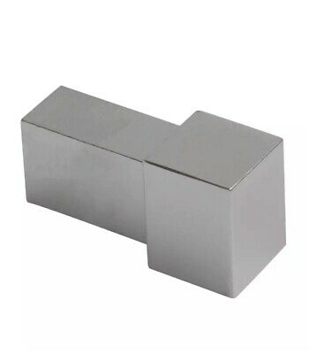 Genesis Chrome, Brushed Steel Tile Trim Metal Corner Square Edge 1 Piece • 6.19£