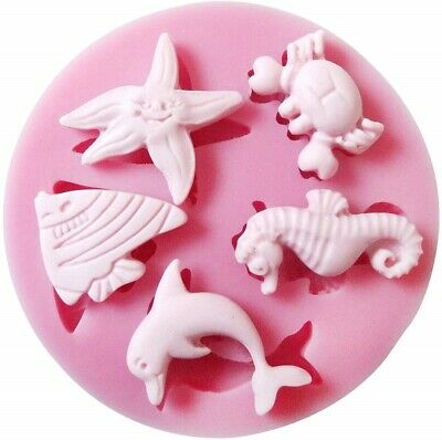 £2.99 • Buy Crab Dolphin Seahorse Starfish Fish Silicone Mould 3D Cake Icing Chocolate UK