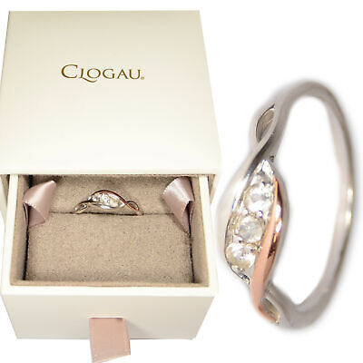 Clogau Size K, L, M, P, Q Past Present Future Ring Silver Welsh 9ct Rose Gold • 59.95£