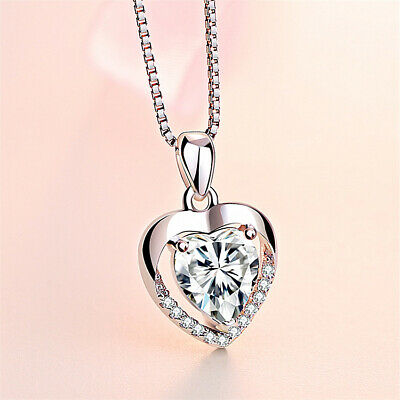 £3.99 • Buy 925 Sterling Silver Crystal Heart Stone Pendant Chain Necklace Womens Jewellery