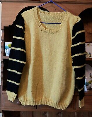 Slouchy Boyfriend Hand Knitted Jumper Yellow Striped Sleeves Different M/l • 12£