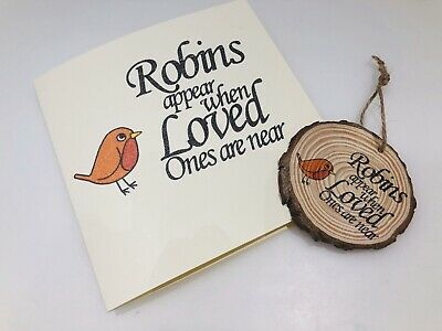 In Memory Condolence Blank Card And Keepsake Robins Appear When Love Ones Near • 3.99£