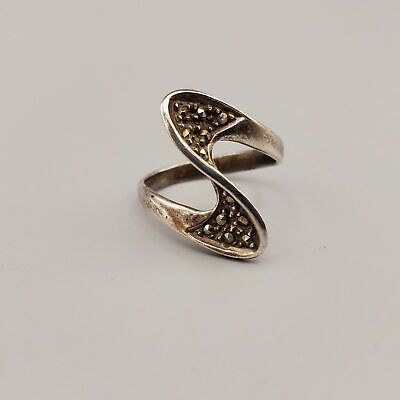 $31.65 • Buy Vintage Charles Winston Signed Sterling Silver Marcasite Wave Wrap Ring Size 6