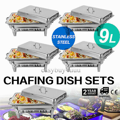 £37 • Buy 9 L Chafing Dish Pan Tray Set Stainless Steel Party Cater Food Warmer Fuel NEW