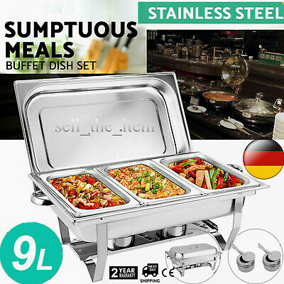 £47 • Buy 3 Pans Chafing Dish Set Stainless Steel 9 L Party Cater Food Warmer Fuel New