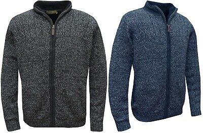 £19.95 • Buy Mens Full Zip Knitted Fur Lined Sherpa Winter Coat Thick Jacket Cardigan S - XXL
