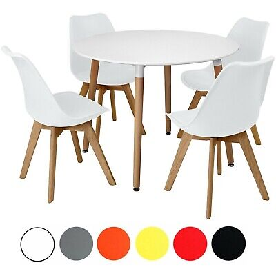 £219.99 • Buy Circular Dining Table Set Four 4 Dinner Kitchen Chairs White Solid Beech Wood