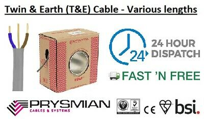 Twin And Earth T&E PVC Cable -  Electrical 1.0mm, 1.5mm, 2.5mm, 4mm, 6mm, 10mm • 5.10£