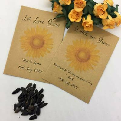 10 X Personalised Sunflower Seed Wedding Favours Communion Christening Baby Show • 1.95£