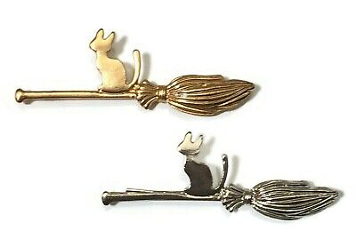 Cat Hair Grip Pin Brooch New Silver Gold Broomstick Witch Slide Magic Halloween • 3.95£