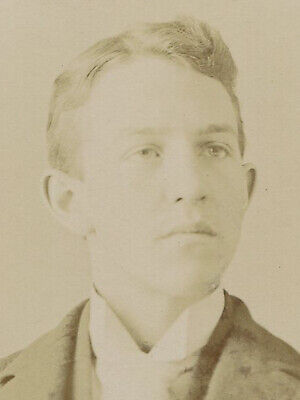 Young Man With Angular Features. Silver Print On Embossed Board. Circa 1900. • 18.73£