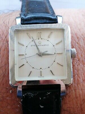 1950s Eterna Eterna-matic Square Automatic Mens Watch. Stainless Steel Case.  • 229.24£