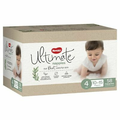 AU29.99 • Buy Huggies Ultimate Nappies Jumbo Toddler Size 4/10-15kg 58 Pack