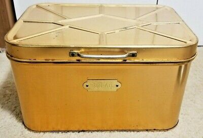 $24.99 • Buy Cheinco Vintage Bread Box Hinged Lid Tin & Copper Made In USA