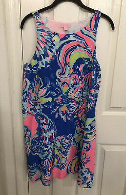 $40 • Buy LILLY PULITZER  Sleeveless Shift Mini Dress Pink/Blue Print Size Small EUC!