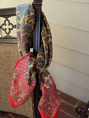 $8 • Buy CORAL RED MULTI-COLOR PAISLEY SCARF (Italy) 31X31 INCHES