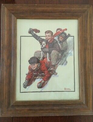 $ CDN92.06 • Buy Norman Rockwell! 1972 ''Four Boys On A Sled'' Lithograph Repro On Canvas CPC!