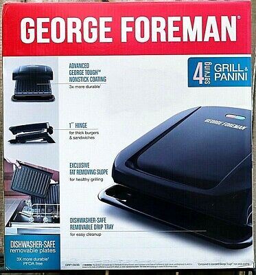 George Foreman 4-serving Removable Bbq Fat Removing Grill Plates Panini Press • 32.89£