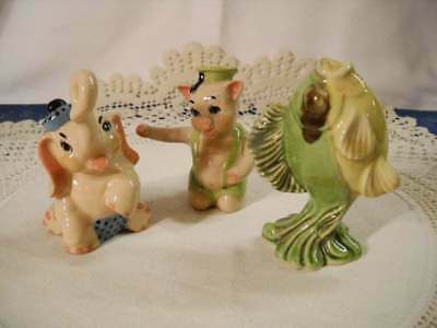 $7.99 • Buy Vintage Lot 3 Ceramic Arts Studio Figurines/Shaker ~ Pig Elephant & Fish Excelle