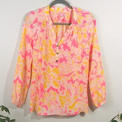 $45 • Buy NEW Lilly Pulitzer Elsa Silk Peasant Button Up Top Pink Ooh La La Print Size S