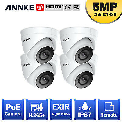ANNKE CCTV 4pcs 2MP Dome Home Surveillance IP Camera Only For POE System IP67 UK • 139.99£