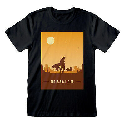 Official Star Wars The Mandalorian Baby Yoda Sunset Silhouette Black T-shirt • 12.99£