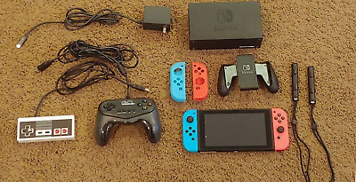 $ CDN367.89 • Buy Nintendo Switch 32GB Console HAC-001 Red Blue Joy Con 2 Controllers Great Cond!!