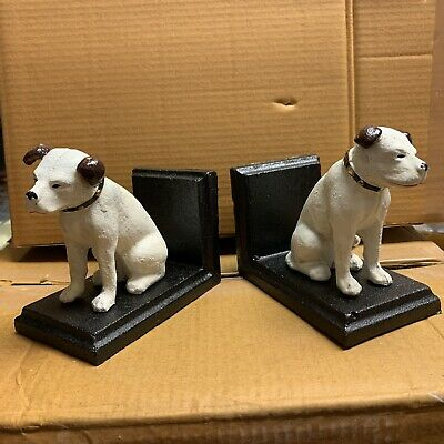 Cast Iron Book Ends HMV Nipper Dog Bookends • 20£