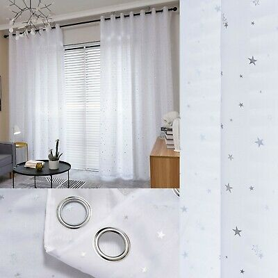Star Lined Voile Curtains - Eyelet Curtains - Sold As A Pair - Ready Made • 15£