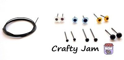 £3.95 • Buy Natural 3D Animal Needle Felting Eyes & Whiskers, Glass Eyes + Craft Wire