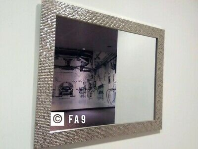 £26.89 • Buy New Large Mosaic Silver Mirror Bedroom Hallway Hanging Wall Gift 59X49cm