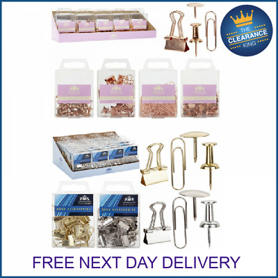 Rose Gold Copper Office Stationary Paperclips, Push Pins And Bulldog Clips  • 1.99£