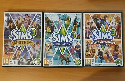 3 X Sims 3 Expansion Packs - Ambitions / Generations / World Adventures PC / Mac • 10.95£
