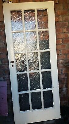 1 Interior Wooden Glass Door, 15 Patterned Glass Panels. 811 X 1971 Mm • 90£