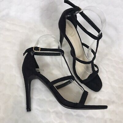 Missguided Shoes 6 Black Strappy Faux Suede High Stiletto Cage Occasion Evening • 13.95£
